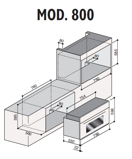 ilve 800 l mp elektro einbau backofen 80 cm. Black Bedroom Furniture Sets. Home Design Ideas