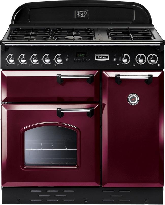 Falcon Classic 90 Range Cooker, Gasherd mit Elektrobackofen Cranberry/ Energieeffizienzklasse A