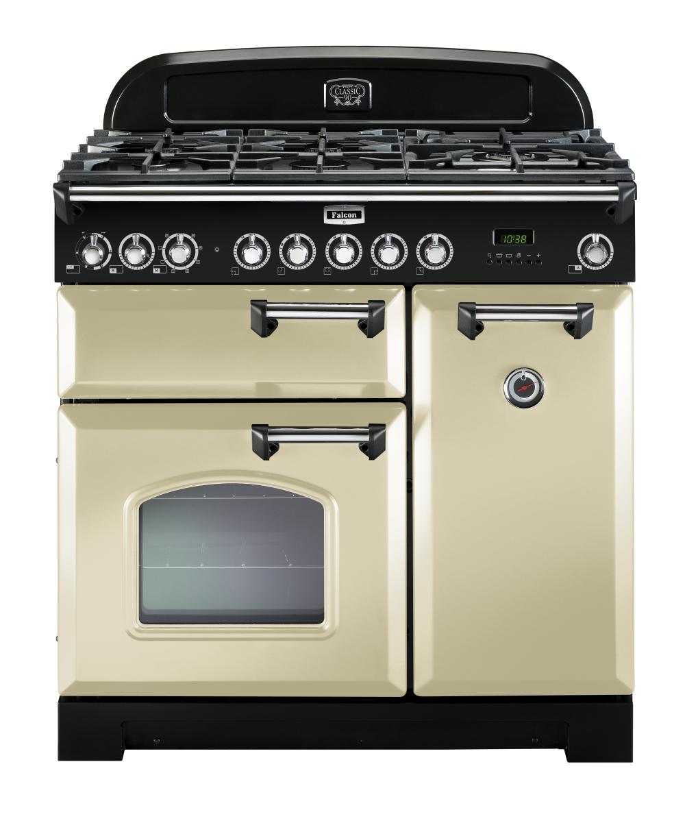 Falcon Classic Deluxe 90 Range Cooker, Gasherd mit Elektrobackofen, Cream, Energieeffizienzklasse A