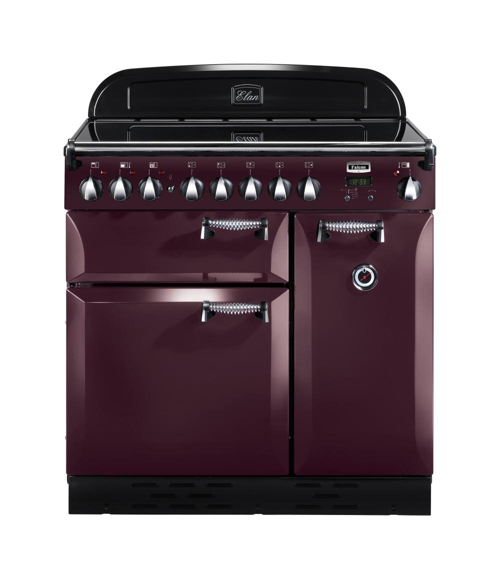 falcon elan 90 range cooker elektro standherd mit induktionskochfeld cranberry. Black Bedroom Furniture Sets. Home Design Ideas