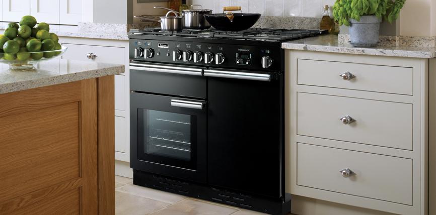 Falcon PROFESSIONAL+ 100 Range Cooker, Gasherd mit Elektrobackofen, Schwarz/ Energieeffizienzklasse A