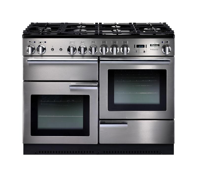 Falcon PROFESSIONAL+ 110 Range Cooker, Gasherd mit Elektrobackofen, Stainless Steel, Energieeffizienzklassen A/B