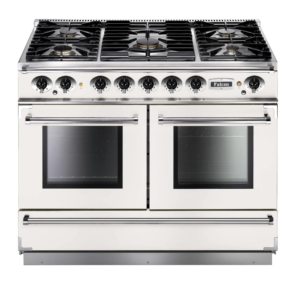 Falcon 1092 Continental Range Cooker, Gasherd mit Elektrobackofen, weiß, Energieeffizienzklasse A