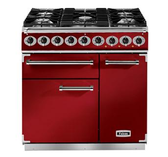 Falcon 900 Deluxe Range Cooker, Gasherd mit Elektrobackofen, Cherry Red, Energieeffizienzklasse A