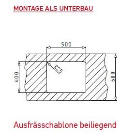 pyramis lume 50x40 1b art nr 101024401 unterbaubecken. Black Bedroom Furniture Sets. Home Design Ideas
