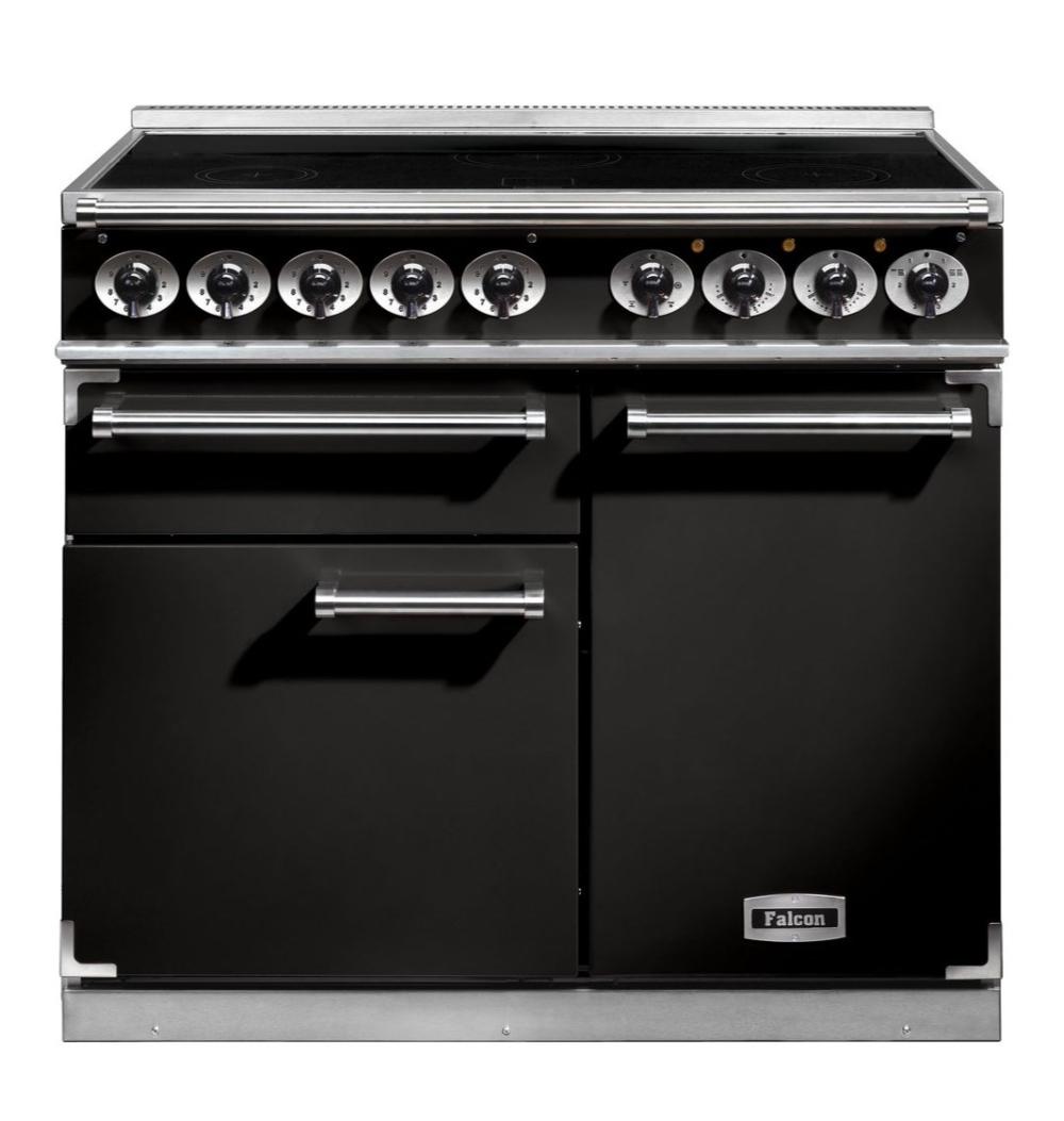 Falcon 1000 Deluxe Range Cooker, Elektro-Standherd mit Induktionskochfeld, Black/ Energieeffizienzklasse A