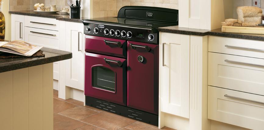 Falcon Classic 90 Range Cooker Elektrostandeherd mit Glaskeramikkochfeld Cranberry/ Energieeffizienzklasse A
