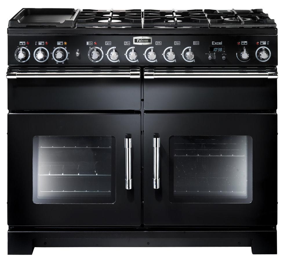 Falcon Excel 110 Range Cooker, Gasherd mit Elektrobackofen, black/ Energieeffizienzklasse A