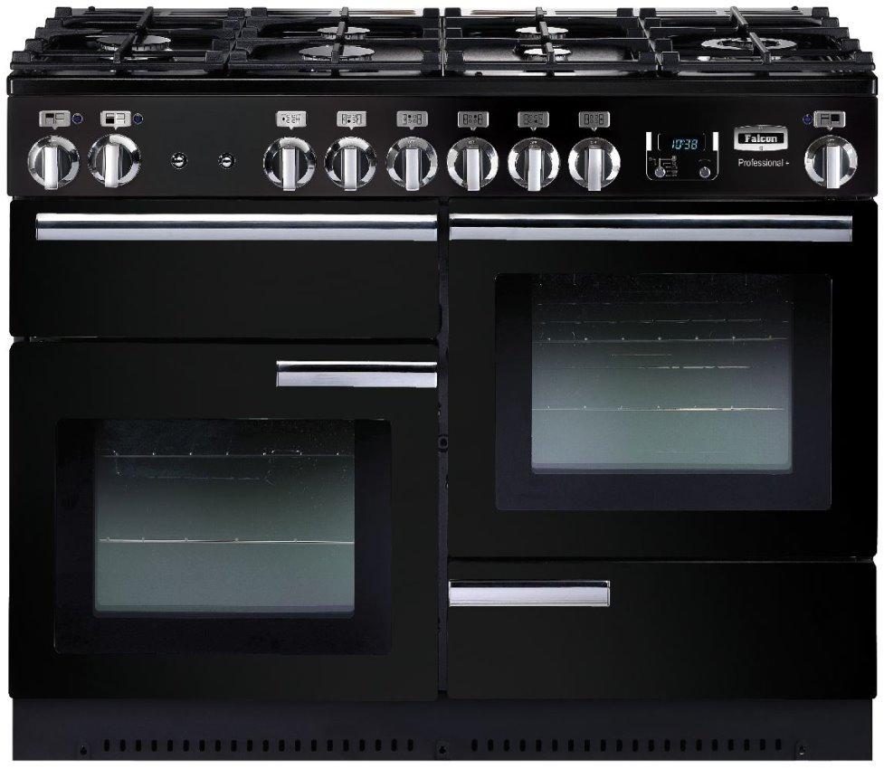 Falcon PROFESSIONAL+ 110 Range Cooker, Gasherd mit Elektrobackofen, schwarz/ Energieeffizienzklassen A/B