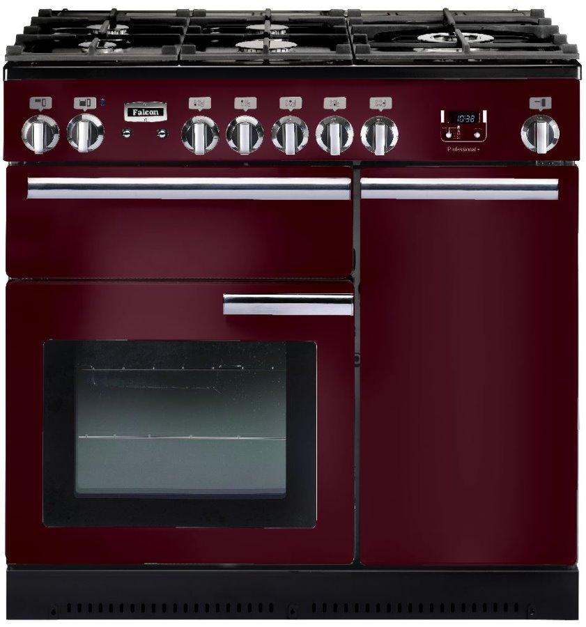 Falcon PROFESSIONAL+ 90 Range Cooker, Gasherd mit Elektrobackofen, cranberry/ Energieeffizienzklasse A