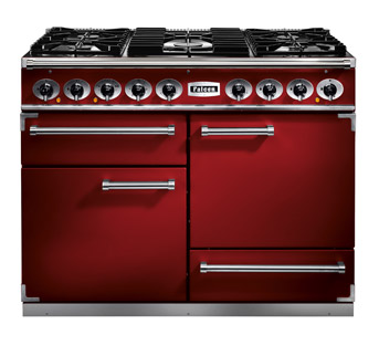 Falcon 1092 Deluxe Range Cooker, Gasherd mit Elektrobackofen cherry red/ Energieeffizienzklasse A