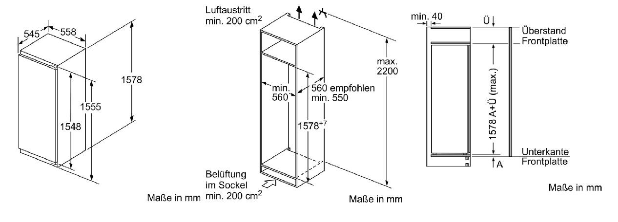 Bosch KIL72AD40 Einbau Kühlschrank/ Energieeffizienzklasse A+++ ...