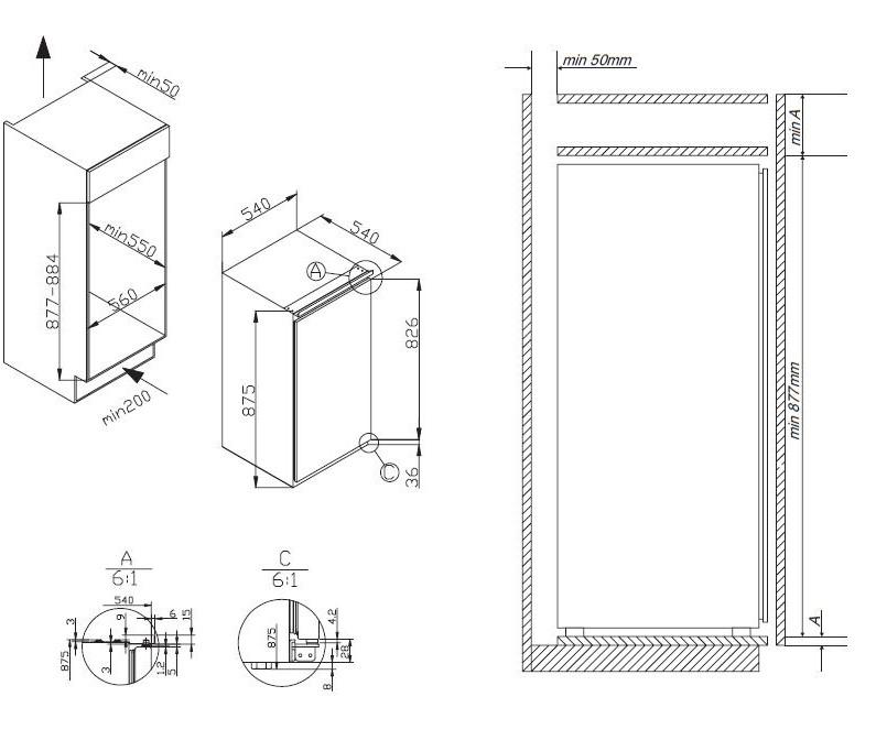 amica eks 16171 einbau k hlschrank mit gefrierfach energieeffizienzklasse a. Black Bedroom Furniture Sets. Home Design Ideas