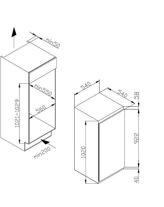 amica evks 16404 einbau k hlschrank energieeffizienzklasse a. Black Bedroom Furniture Sets. Home Design Ideas