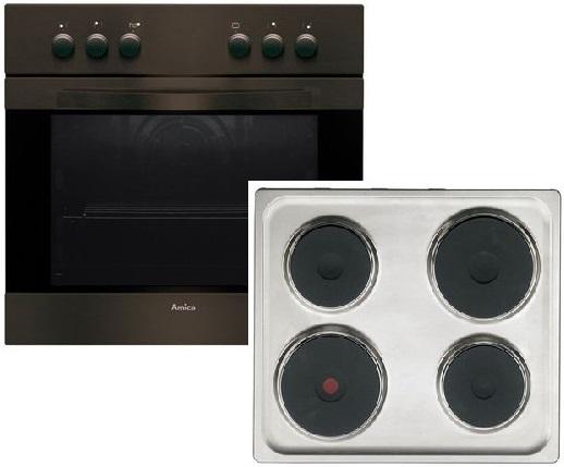 Amica EHE12505B Elektro-Einbauherd Set mit Plattenkochfeld/ Herd Energieeffizienzklasse A