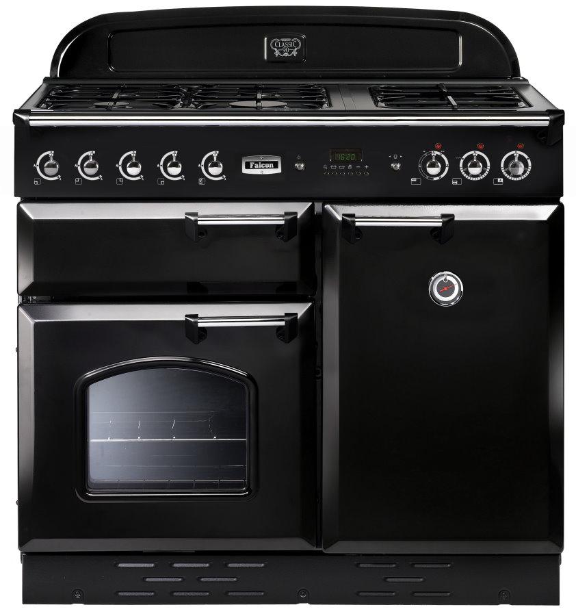 Falcon Classic 100 Range Cooker, Gasherd mit Elektrobackofen schwarz/ Energieeffizienzklasse A