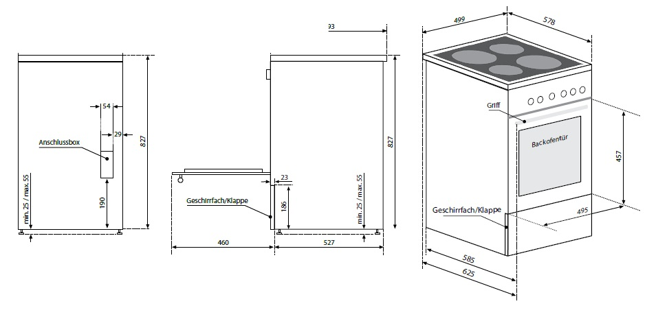 oranier dessa r dc193050 elektro standherd glaskeramik. Black Bedroom Furniture Sets. Home Design Ideas