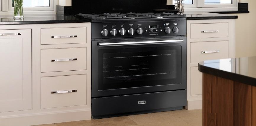 Falcon PROFESSIONAL+ FX 90 Range Cooker, Gasherd mit Elektrobackofen, schwarz/ Energieeffizienzklasse A