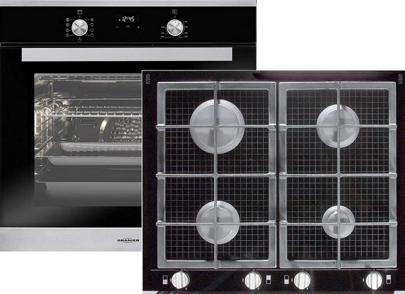 Oranier EBS9936 10 Elektro-Einbaubackofen & GFC2764 Gaskochfeld Glaskeramik/ Backofen Energieeffizienzklasse A