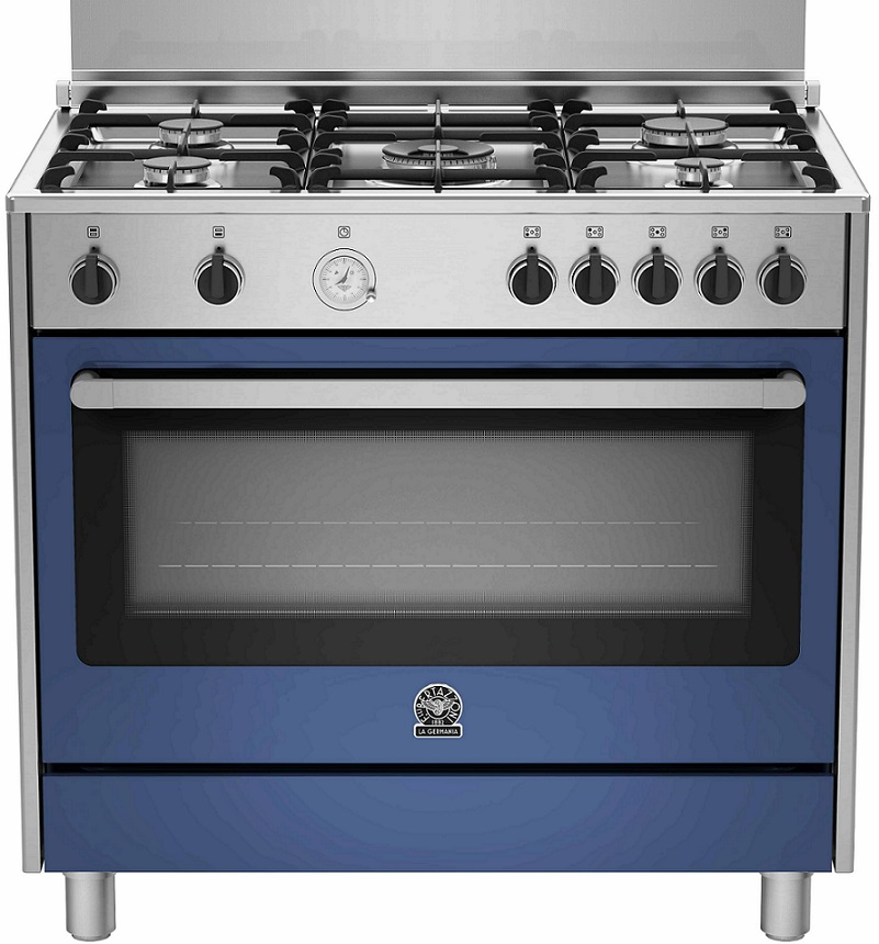 Lagermania RIS95C61CXBB Gasherd, Elektrobackofen, Edelstahl, blau, 90 cm, Energieeffizienzklasse A