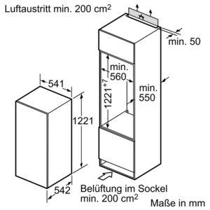 bosch kil24v21ff einbau k hlschrank mit gefrierfach energieeffizienzklasse a. Black Bedroom Furniture Sets. Home Design Ideas