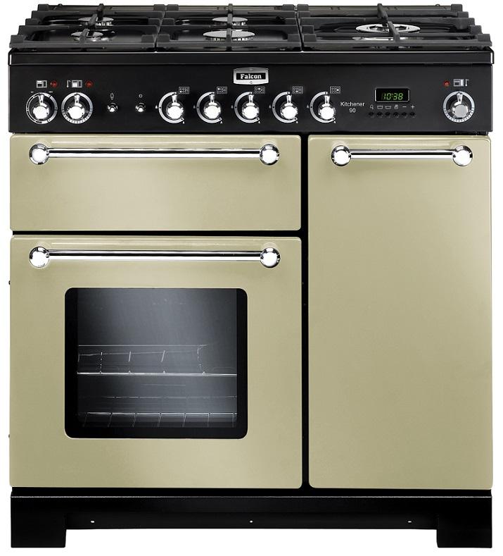 Falcon KITCHENER 90 Range Cooker, Gasherd mit Elektrobackofen, Cream, Energieeffizienzklasse A
