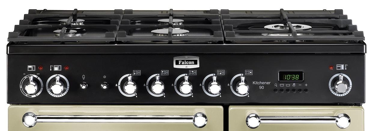 falcon kitchener 90 range cooker gasherd mit elektrobackofen cream energieeffizienzklasse a. Black Bedroom Furniture Sets. Home Design Ideas