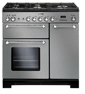 Falcon KITCHENER 90 Range Cooker, Gasherd mit Elektrobackofen Edelstahl, Energieeffizienzklasse A