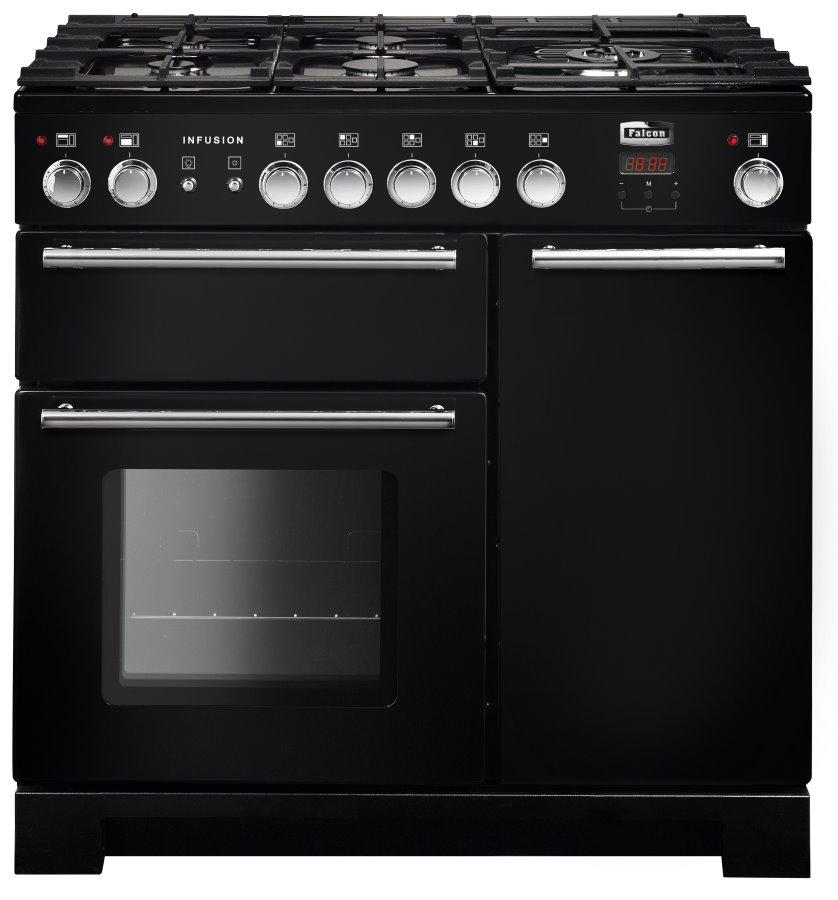 Falcon Infusion 90 Range Cooker, Gasherd mit Elektrobackofen, Black, Energieeffizienzklasse A