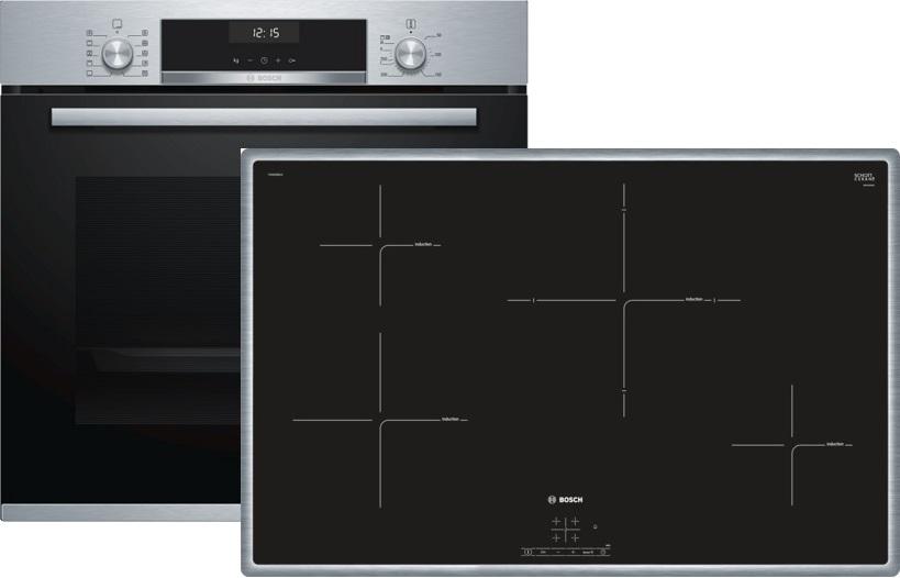 bosch hbd634cs80 elektro einbaubackofen set mit induktionskochfeld backofen. Black Bedroom Furniture Sets. Home Design Ideas