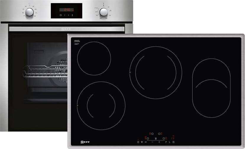 neff xb48p elektro einbaubackofen set mit glaskeramikkochfeld backofen energieeffizienzklasse a. Black Bedroom Furniture Sets. Home Design Ideas