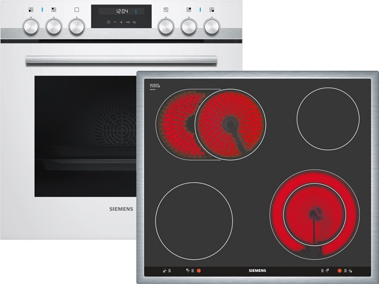 Siemens EQ521KA00W Elektro-Einbauherd Set mit Glaskeramikkochfeld/ Herd Energieeffizienzklasse A