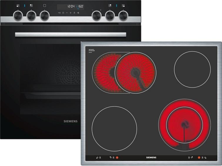 Siemens PQ521KB00 Elektro-Einbauherd Set mit Glaskeramikkochfeld/ Herd Energieeffizienzklasse A