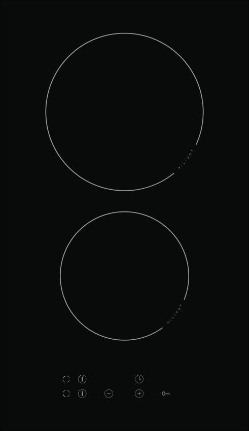 Amica KMC13281-3C Domino-Glaskeramik-Kochfeld