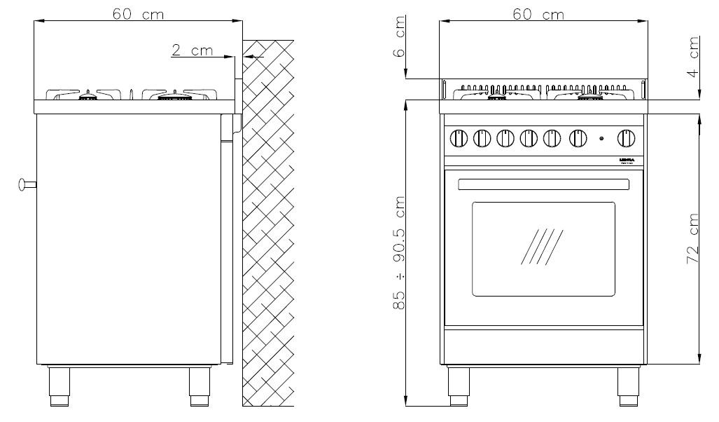 lofra m66gv c maxima range cooker gasherd mit umluft gasbackofen energieeffizienzklasse a. Black Bedroom Furniture Sets. Home Design Ideas