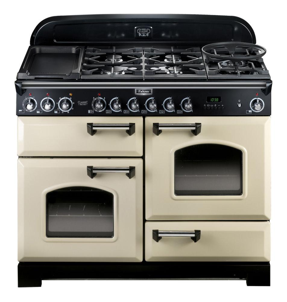 falcon classic deluxe 110 range cooker gasherd mit elektrobackofen cream. Black Bedroom Furniture Sets. Home Design Ideas