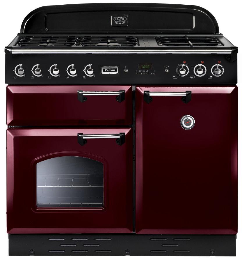 Falcon Classic 100 Range Cooker, Gasherd mit Elektrobackofen cranberry/ Energieeffizienzklasse A