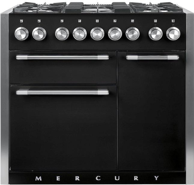 Falcon MERCURY 1000 Range Cooker, Gasherd mit Elektrobackofen, schwarz/ Energieeffizienzklasse A