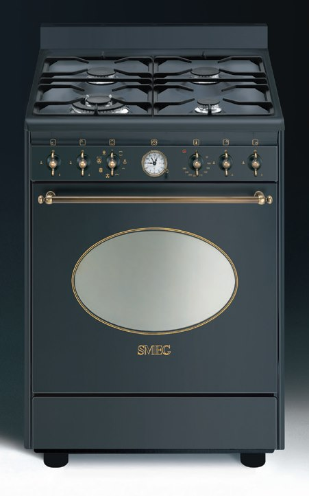 smeg co68gmad8 gasherd mit elektrobackofen nostalgie aktionsangebot energieeffizienzklasse a. Black Bedroom Furniture Sets. Home Design Ideas