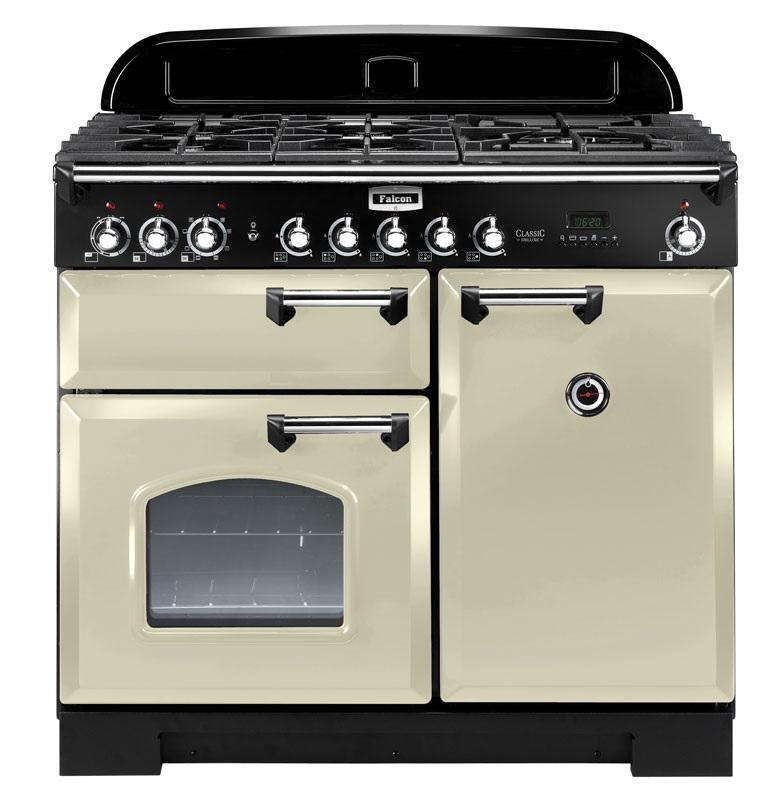 Falcon Classic Deluxe 100 Range Cooker, Gasherd mit Elektrobackofen, cream/ Energieeffizienzklasse A