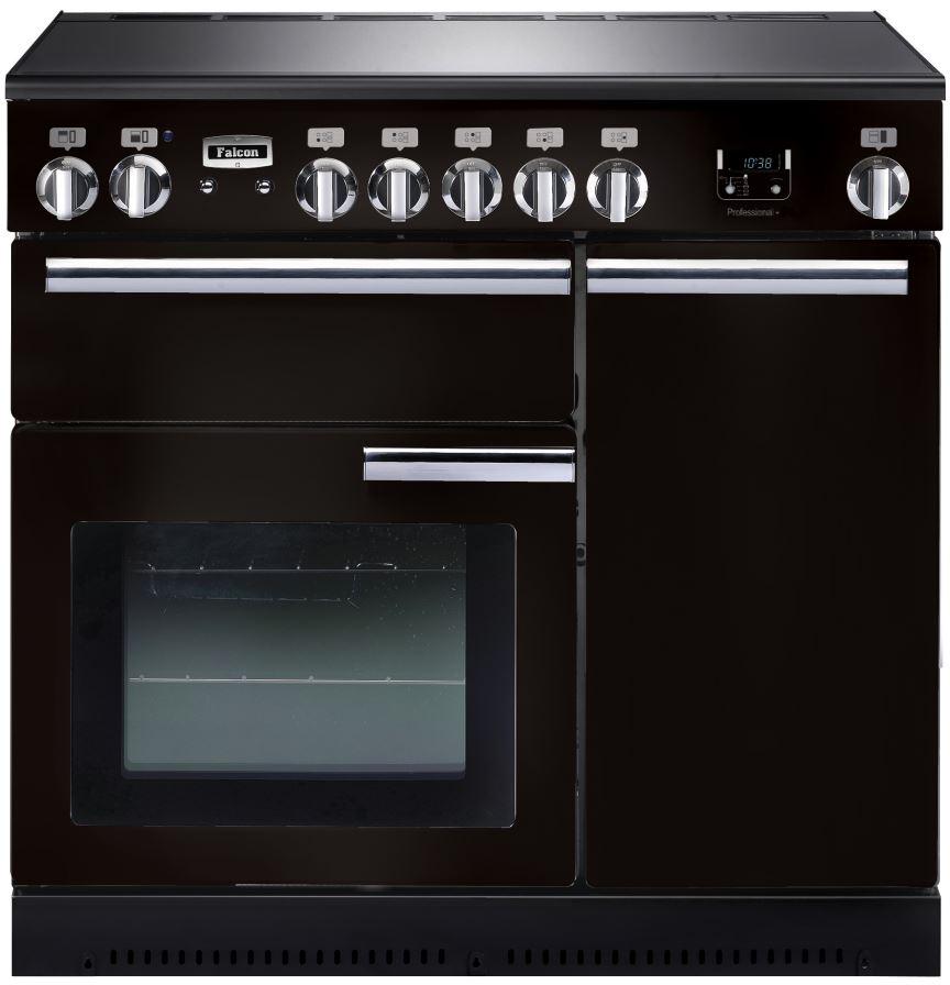 Falcon PROFESSIONAL+ 90 Range Cooker, Elektroherd mit Induktionskochfeld, Black/ Energieeffizienzklasse A