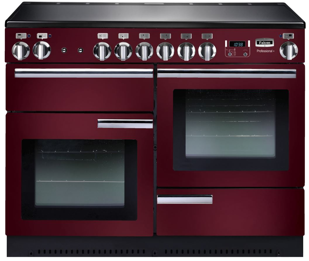 Falcon PROFESSIONAL+ 110 Range Cooker, Elektroherd  mit Induktionskochfeld, Cranberry/ Energieeffizienzklassen A/B