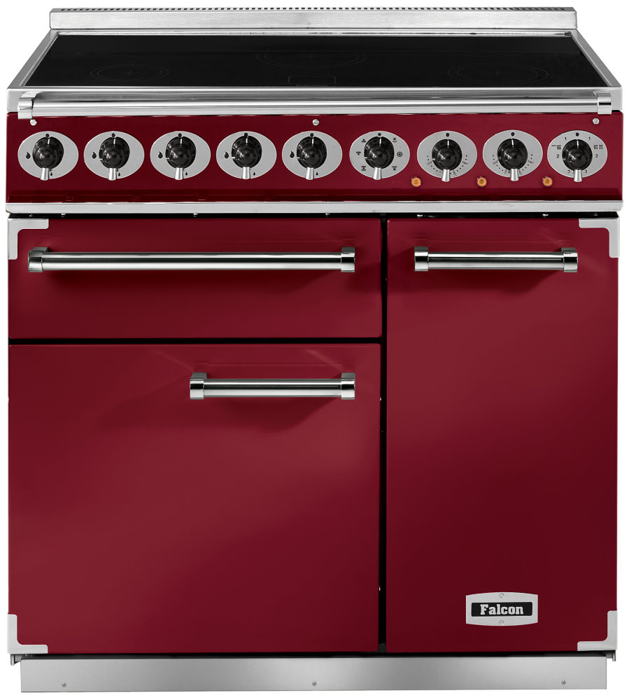 Falcon 900 Deluxe Range Cooker, Induktionskochfeld, Cherry Red/ Energieeffizienzklasse A