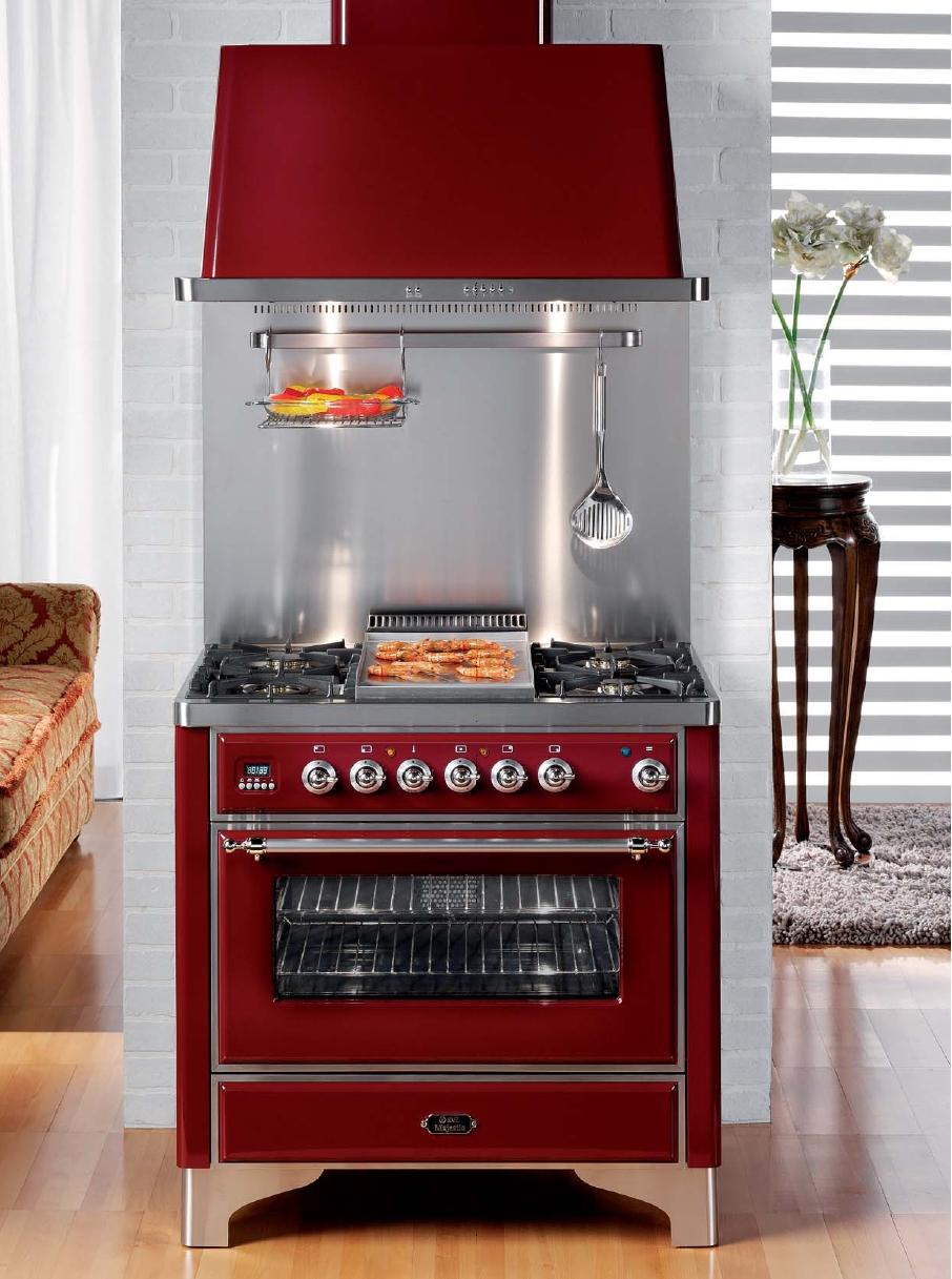 ilve m 906d mp majestic gasherd mit elektrobackofen rot nostalgie. Black Bedroom Furniture Sets. Home Design Ideas