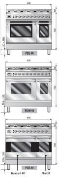 ILVE PDW-906-VG Professional Plus Gasherd, Gasbackofen mit Umluft