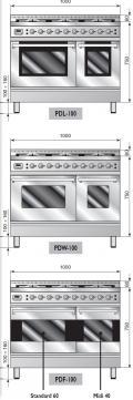 ILVE PDL-1006-MP Professional Plus Gasherd, Elektrobackofen
