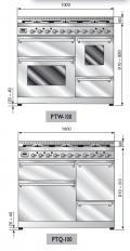 ILVE PTW-1006-MP Professional Plus Gasherd, Elektrobackofen