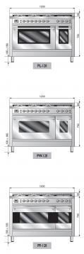 ILVE PW-1207-VG Professional Plus Gasherd, Gasbackofen mit Umluft