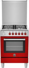 LaGermania RI64C61CXR Gasherd, Elektrobackofen, Rot, Edelstahl, 60 cm/ Energieeffizienzklasse A