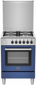 LaGermania RI64C61CXBB Gasherd, Elektrobackofen, Edelstahl, blau, 60 cm, Energieeffizienzklasse A